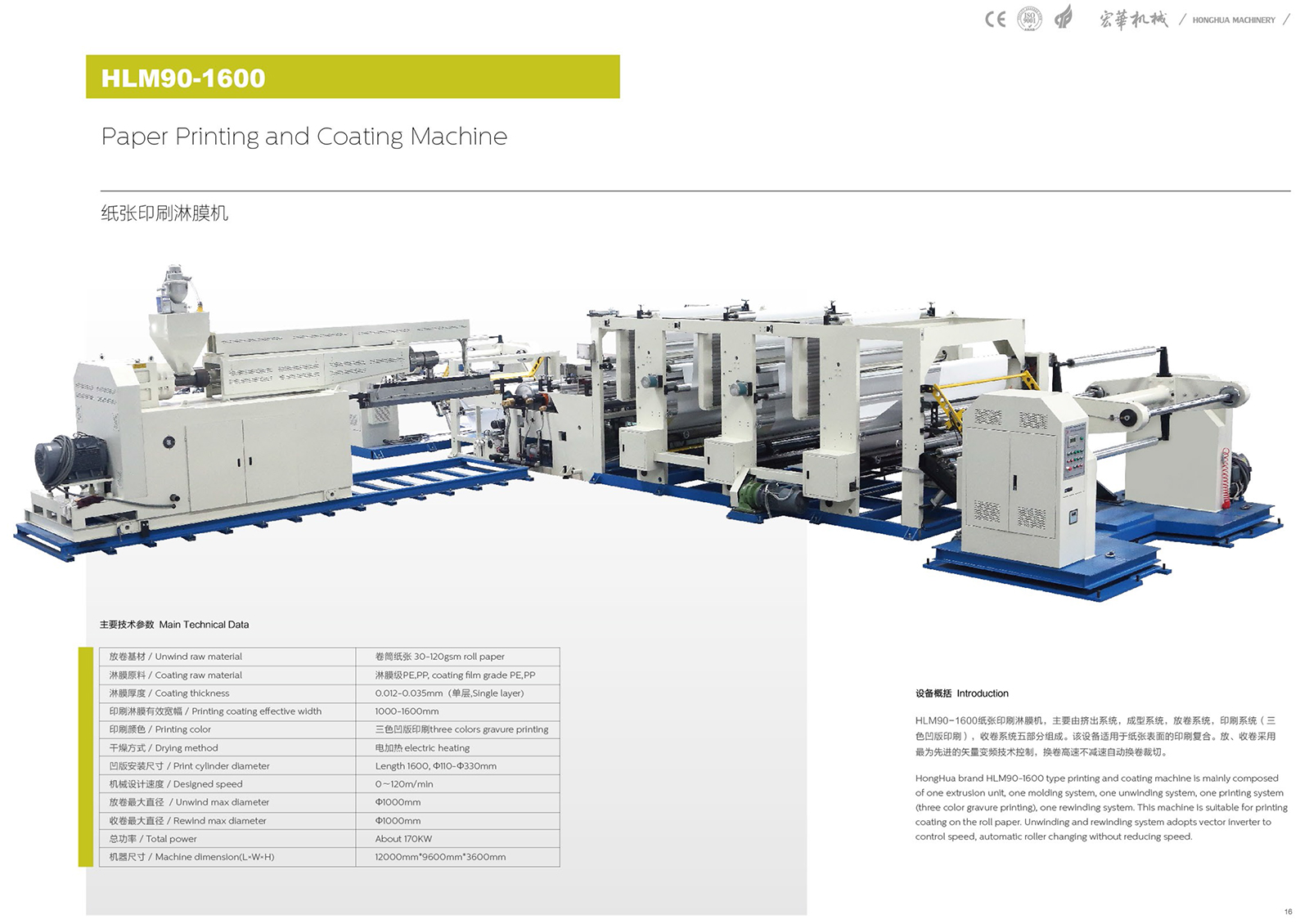 HLM90-1600 Paper printing and Coating Machine