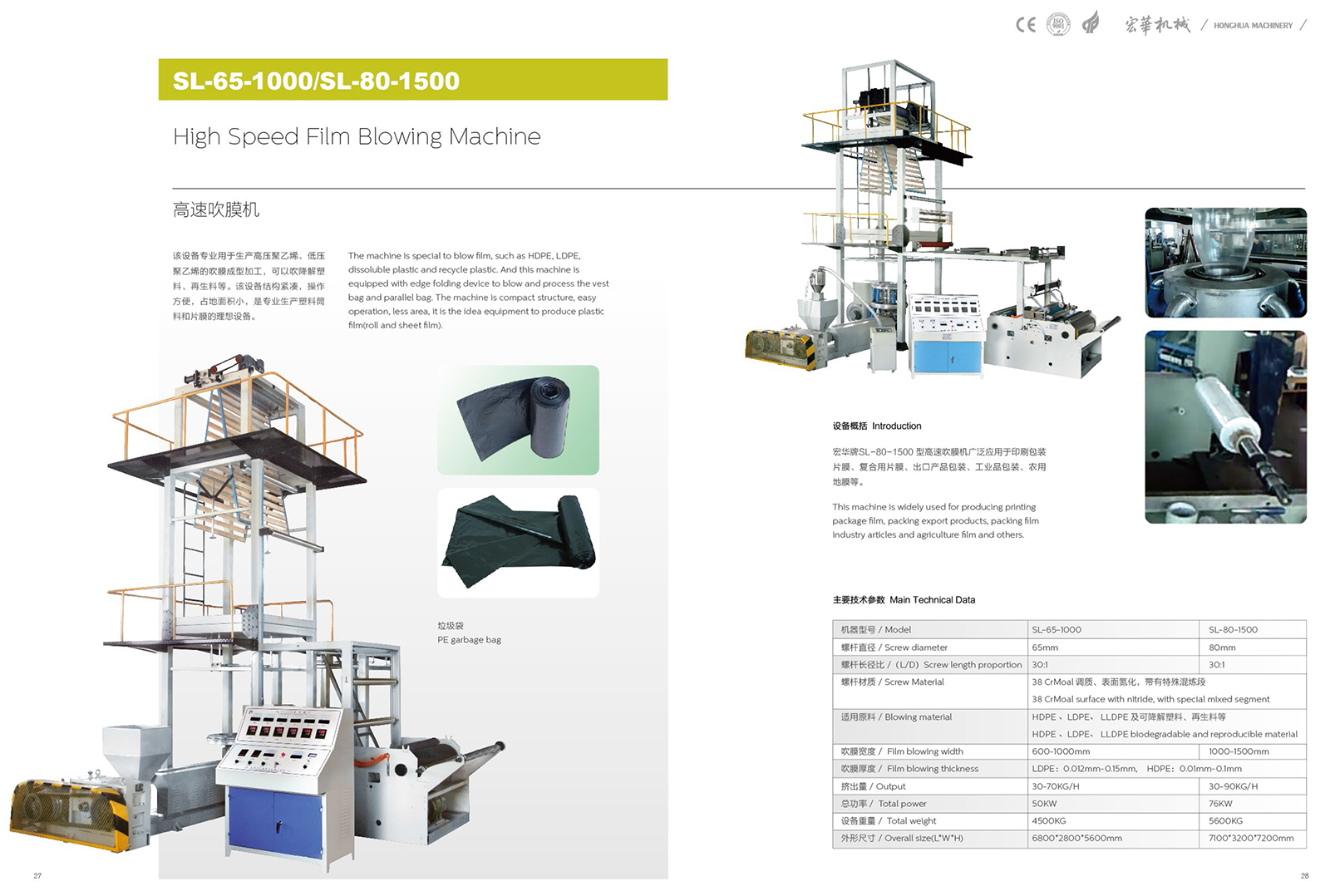 SL-65-1000 High Speed Film Blowing Machine